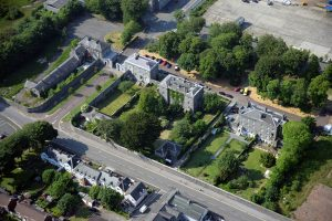 Aerial view of the historic core of surviving Naval buildings within Pembroke Dockyard