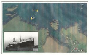 Historical image of the LEYSIAN and the wreck's location today.