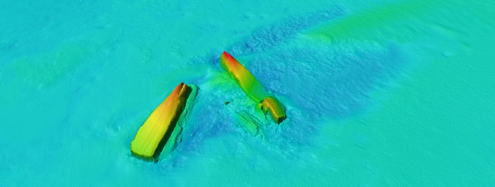 Multibeam image of the SS DRINA wreck.