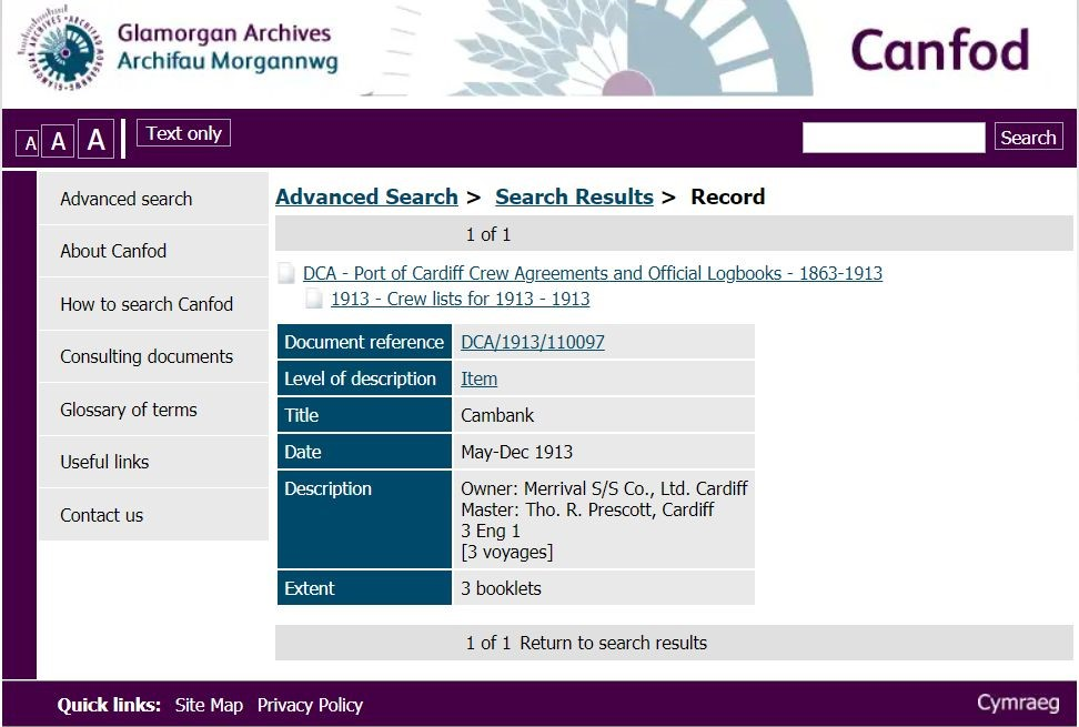 Glamorgan Archives screenshot