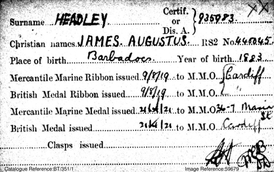 James Headley's medal card