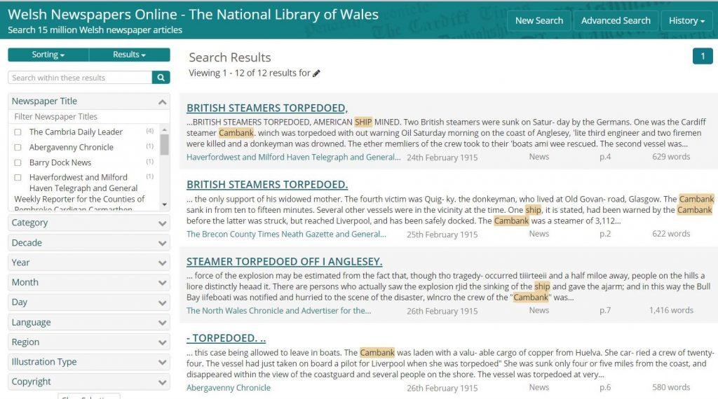 Welsh Newpapers Online search page
