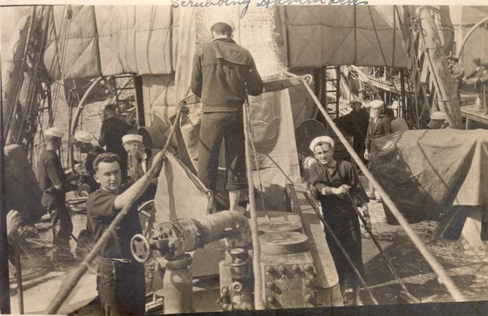 Crewmen on a US destroyer