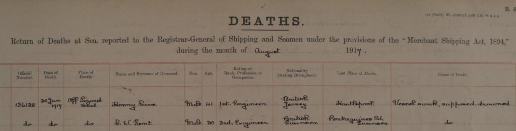 Entry for Will Gent in 'Deaths at Sea 1891-1972
