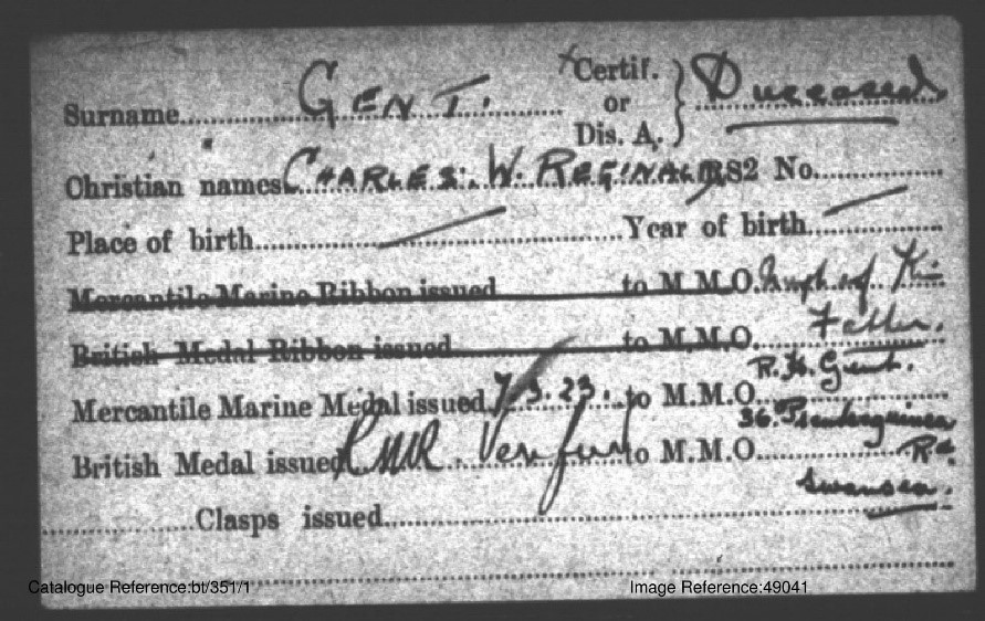 Will Gent's medal card